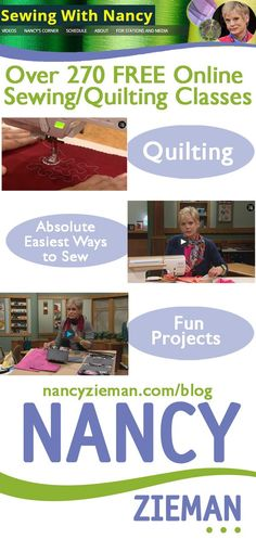 Watch Sewing With Nancy Online. Free classes for garment sewing, quilting and machine embroidery.