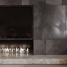 Pin on Monoarc Lobby Interior, Interior Exterior, Modern Interior, Interior Architecture, Fireplace Tv Wall, Modern Fireplace, Fireplace Design, Tv Wall Design, Küchen Design