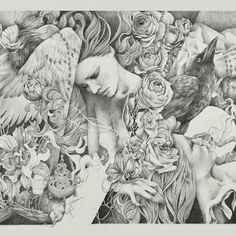 "Posted by antlerpdx : Crop from Cathedral by Craww ( @craww ) // 22"" x 30"" (26"" x 34"" framed) // Graphite on paper  You can see the full image on our website (link in profile). Please email antlerpdx@gmail.com with any inquiries.  #craww #reclamation #antlerpdx"