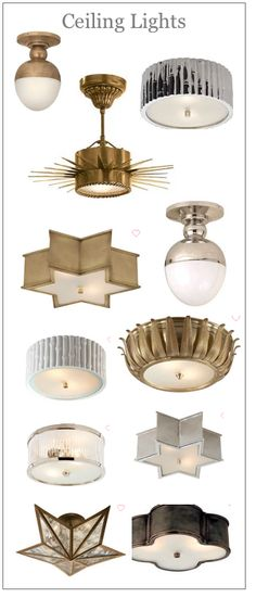 Ceiling lights with an art deco feel Flush Ceiling Lights, Ceiling Fixtures, Light Fixtures, Cool Lighting, Lighting Design, Overhead Lighting, Lampshade Chandelier, South Shore Decorating, Circa Lighting