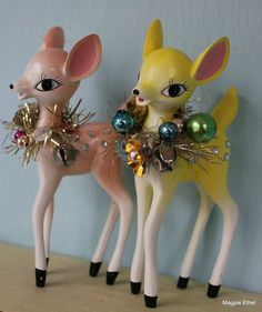 Retro holiday decor essentials. How adorable are these pastel fawns?