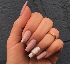 """If you're unfamiliar with nail trends and you hear the words """"coffin nails,"""" what comes to mind? It's not nails with coffins drawn on them. It's long nails with a square tip, and the look has. Aycrlic Nails, Pink Nails, Cute Nails, New Year's Nails, Fall Nails, Best Acrylic Nails, Acrylic Nail Designs, Summer Acrylic Nails, Marble Acrylic Nails"""