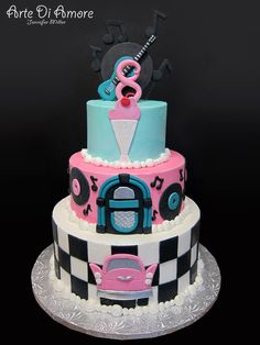 I designed this cake for a themed birthday party. All decorations are handmade from fondant. Cupcakes, Cake Cookies, Cupcake Cakes, Themed Birthday Cakes, Themed Cakes, 12th Birthday, Cake Pops, Bolo Neon, 50s Theme Parties