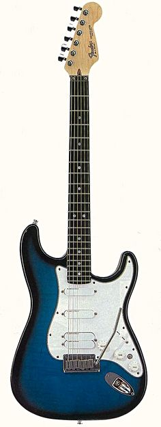 """The Fender Strat """"ULTRA,"""" implementing not stock """"strat magnetic pickups,"""" but rather Lace-Sensors. These sensors detect string movement rather than magnetic field, and are incredibly clear and versatile. Blue at neck was cooler """"jazz tones,"""" middle was gold (Clapton used 3 golds) - and the red DUAL sensor gives a humbucker thickness to the tone. Top off with an ebony fretboard (my favorite) and roller nut w/locking tuners - & you have an amazing guitar."""