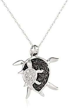 "10k White Gold and Black and White Diamond ""Mother and Baby Turtle"" Pendant Necklace, 18"""