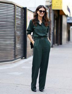 Leila Yavari in military green Maison MartinMargiela jumpsuit &Celine bag.
