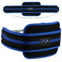 MRX Dipping Belt in Blue and Black Made of high quality neoprene Foam Padding is used for maximum protection Fully adjustable and heavy duty metal chain