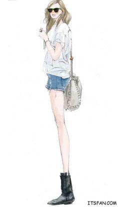 street fashion girl; chic outfit #street #fashion #illustration