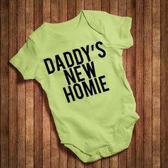 19cb759aa Daddy s New Homie Baby Bodysuit VestBaby GrowBaby by jobbbhome Dad Onesie