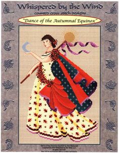 Dance of the Autumnal Equinox Cross Stitch Pattern - Part of the Dance of the Seasons set from Mari McDonald. The dancer's flowing cloak is held in place by a garland of flowers as she holds aloft a crescent moon and golden sun. Her gown is embroidered with turning leaves. Stitch count is 111w by 165h.