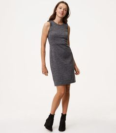 LOFT Tall Ruffled Herringbone Sheath Dress
