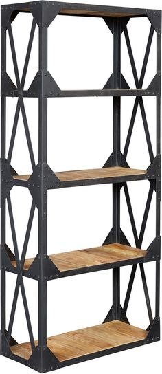 Vintage Industrial Metal and Wood Large Bookcase (Bookcases & shelf)