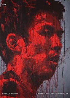 Makoto Hasebe, Eintracht Frankfurt, acrylics on canvas, 70cmx100cm