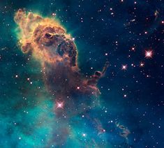 A dusty pillar lit from within by newborn stars - a cosmic beauty.  Hubble Space Telescope Sept 2009