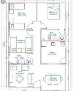 Casa Roça casa roça modern home decor - Modern Decoration Square House Plans, Small House Floor Plans, My House Plans, House Layout Plans, Simple House Plans, Bungalow House Plans, House Layouts, 30x40 House Plans, Three Bedroom House Plan
