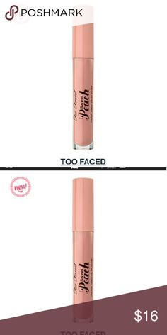 "TOO FACED PEACH INFUSED LIP GLOSS. ""PEACH PLEASE "" Too Faced silky, smooth, peach lip oil is infused with peach essence, coconut oil and vitamin E.  Benefits:Infused with the skin-loving essence of peach, coconut oil and vitamin ESmells and tastes like peachesShades of nudes, peachy pinks and coralsCoconut oil and vitamin E hydrate and soften lipsMoisture-rich formula feels lightweight and creamy TOO FACE Makeup Lipstick"