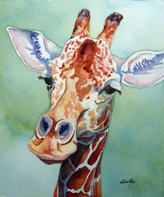 Beautiful Giraffe pen and ink watercolour wash by Leslie White Giraffe Painting, Giraffe Art, Giraffe Pics, Funny Giraffe, Animal Paintings, Animal Drawings, Art Drawings, Watercolor Animals, Watercolor Paintings