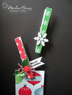 Scrappin Cookie: Xyron 30 Days of Holiday Projects Day #13 - Christmas Clothespin Magnets + Tutorial