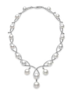 Mikimoto Aria Necklace: 11-16mm White South Sea cultured pearl necklace and 12.61cts of diamonds, set in 18k white gold.