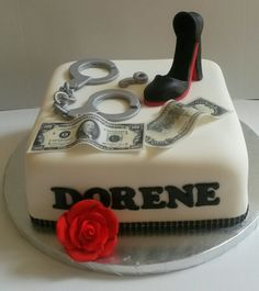 Handcuff/red bottom shoe cake for the bail bonds women with style