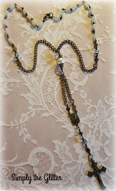 One of a Kind Assemblage Necklace, Rosary Cross Pendant, Rosary Beads, Brass Chain Necklace, Upcycled and Repurposed Jewelry by SimplyTheGlitter on Etsy
