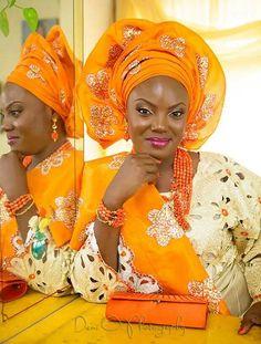 Orange and gold gele Nigerian bride wedding ~African fashion, Ankara, kitenge, African women dresses, African prints, Braids, Nigerian wedding, Ghanaian fashion, African wedding ~DKK