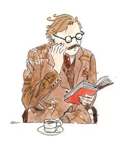 Man Reading Book with Coffee Illustration, watercolour print, 5 x 7 note card