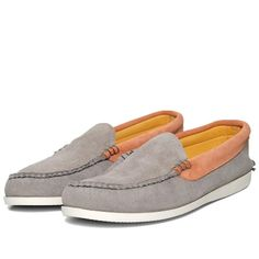 £329 - Kitsuné + Quoddy - Suede Moccasin in Grey+Peach