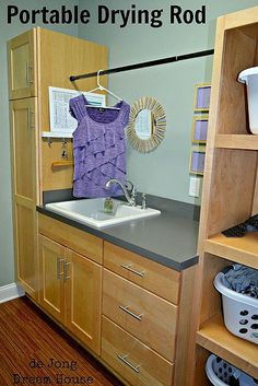 Tension rod used in laundry room