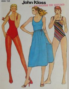 Vintage 1970s John Kloss Swimsuit & Skirt Pattern Bust by linbot1