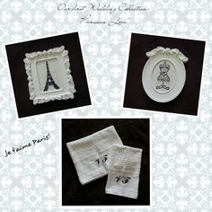 """Is here!! Our first Wedding Collection: """"Parisian Love""""! - More options and designs available - jymcreations@gmail.com. #Handmade #Crossstitch #Paris #Frames #Bathtowels"""