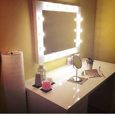 Cute make-up corner with one of our lighten hollywood mirrors ;) Handmade in ZAP project :) http://zapproject.pl/