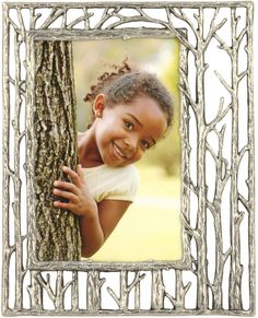 Birches Silver Metal Picture Frame - 4 x 6 verticle