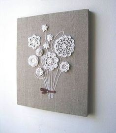 Something to do with those vintage linens - burlap canvas and sew on Grandma Davis' doilies DIY Lovely Crochet Flowers on Canvas with Free Pattern Doable when Jess teaches me how to crochet :) Link doesn't work, but it is doilies sewn onto a burlap canvas Doilies Crafts, Burlap Crafts, Lace Doilies, Crochet Doilies, Crochet Flowers, Fabric Crafts, Diy Crafts, Crochet Bouquet, Crochet Wall Art