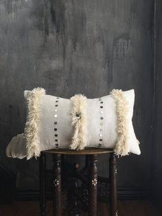 Moroccan Wedding Blanket Pillowcase Tassel  | Pillowcover | Boho Pillow | Tribal | Handira | Berber | Fringe Pillow | Metal Coins | Silver