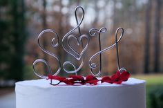 MUSIC NOTE with HEART Bride and Groom Cake by crosswiredesign, $35.00