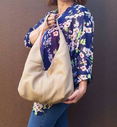Beige suede leather purse  / casual everyday shoulder by Fgalaze