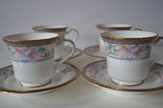 Noritake Embassy Cup and Saucer  set of 4 by TsEclecticCorner, $35.00