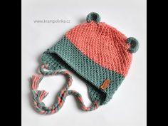 Háčkovaná ušanka Merino Soft · Návody háčkování Krampolinka Knitted Hats, Crochet Hats, Mittens, Winter Hats, Knitting, Handmade, Baby, Free, Youtube