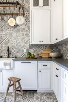 Butlers Pantry Italian Farmhouse, Rustic Farmhouse, White Cabinets, Kitchen Cabinets, Granite Bay, Vintage Stool, Boutique Interior, Butler Pantry, New Construction