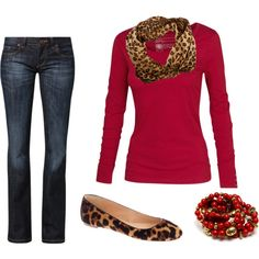"""Leopard and red casual"" by sandrataylor on Polyvore"