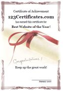 Free printable certificates, certificate templates for kids, certificate maker, certificates of appreciation, honor, and merit   from   123 Certificates   Use this certificate maker to print rewards for students, friends, family, party guests, anybody. Reward the student of the week, the player of the game, the spelling bee winner, teacher of the month, employee of the year, a student that has worked hard, you can even reward yourself! It's as easy as 1, 2, 3!
