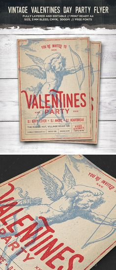 Vintage Cupid Valentines Day Flyer Template PSD #design Download: http://graphicriver.net/item/vintage-cupid-valentines-day-flyer/14457046?ref=ksioks
