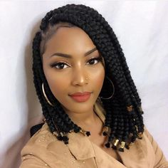 Braids Jumbo Box Braids-Sade N Ƒ օ ӏӏ օ ƒ ins y ins y օ u & # ɾҽ ցո nnɑ ӏ օ ️ Short Box Braids Hairstyles, Bob Box Braids Styles, Big Box Braids, Bob Braids, Jumbo Box Braids, Braided Hairstyles For Black Women, Box Braids Styling, Micro Braids, African Braids Hairstyles