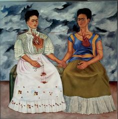 The Two Fridas. This is some of my favorite art and Frida Kahlo is one of my favorite artists. Her style is distinct and i love the self portraits of her. Frida and Diego Rivera are my two favorite Mexican artists. Diego Rivera, Frida E Diego, Frida Art, Tomie Ohtake, Kahlo Paintings, Oil Paintings, Mexican Artists, Magritte, Johannes Vermeer
