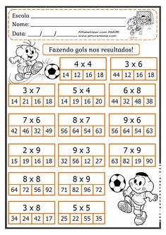 MARCANDO GOL COM O RESULTADO! FATOS PARA 4º ANO/ 5ºANO - Alfabetizar com AMOR Mental Maths Worksheets, First Grade Math Worksheets, Math Games, Math Activities, Math Charts, Math School, Math Multiplication, Math Notebooks, Math For Kids