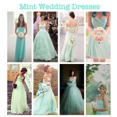 Mint Green Wedding Dresses/Bridal Dresses. (gown, dress, bride, wedding, mint, cinderella, inspirations, ideas, summer, classy, gorgeous) More mint-spirations on my blog!