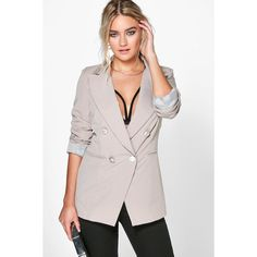 Boohoo Emma Double Breasted Blazer ($35) ❤ liked on Polyvore featuring outerwear, jackets, blazers, beige, pink cami, boyfriend blazer, beige jacket, pink duster coat and pastel pink blazer