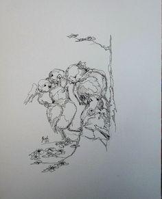 Tinte schwarz Feder Handzeichnung original Hajewski Frühling Zauber Wald Papier