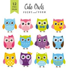 Owl Clip art Owls Digital Owl clipart scrapbook por pointandpoem